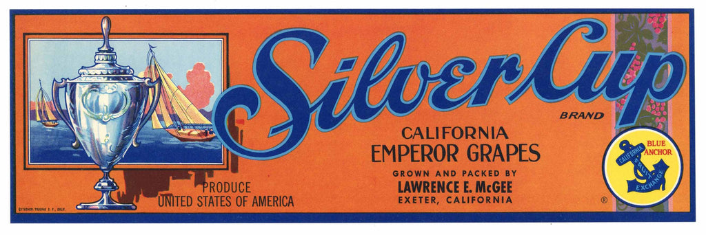 Silver Cup Brand Vintage Grape Crate Label