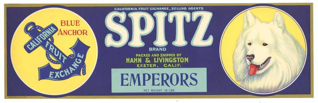 Spitz Brand Vintage Grape Crate Label, dog