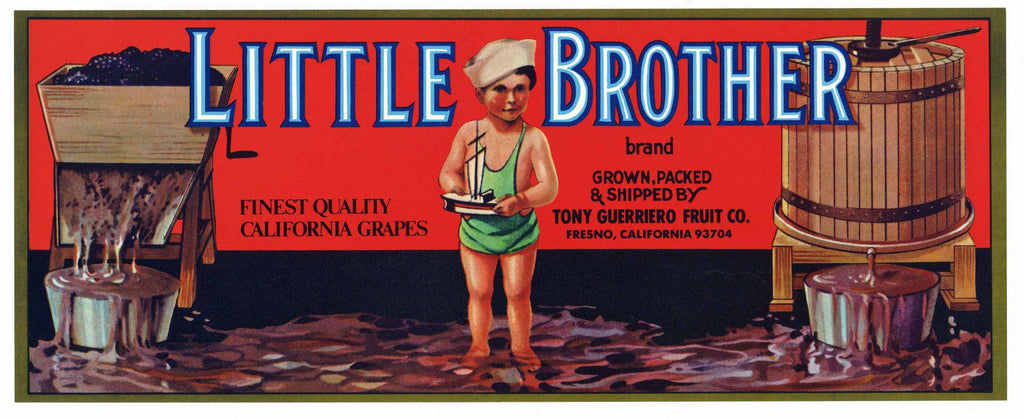 Little Brother Brand Vintage Fresno Wine Grape Crate Label