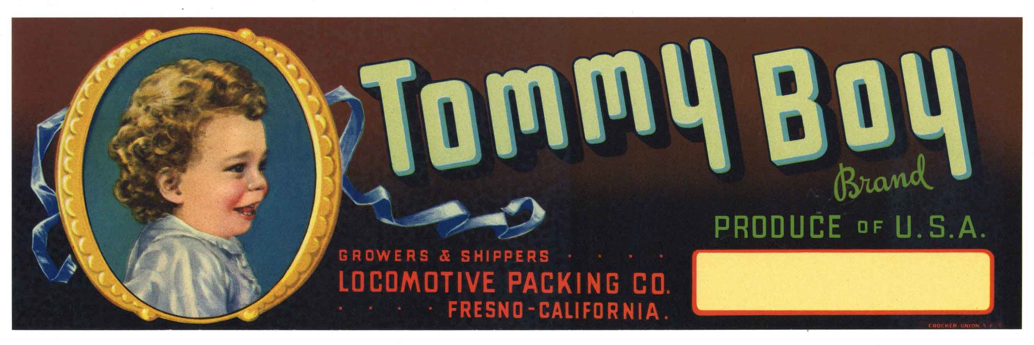 Tommy Boy Brand Vintage Fresno Produce Crate Label