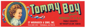 Tommy Boy Brand Vintage Coachella Valley Grape Crate Label, red