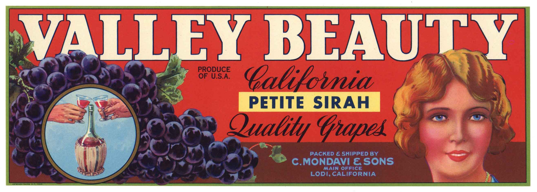 Valley Beauty Brand Vintage C. Mondavi Petite Sirah Grape Crate Label