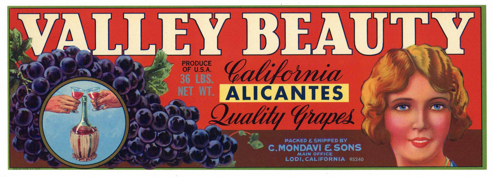 Valley Beauty Brand Vintage C. Mondavi Alicante Grape Crate Label