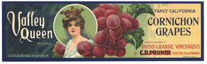 Valley Queen Brand Vintage Cornichon Grape Crate Label