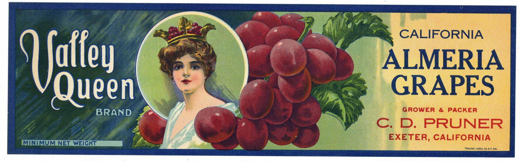 Valley Queen Brand Vintage Almeria Grape Crate Label