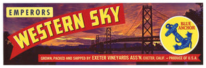 Western Sky Brand Vintage Grape Crate Label