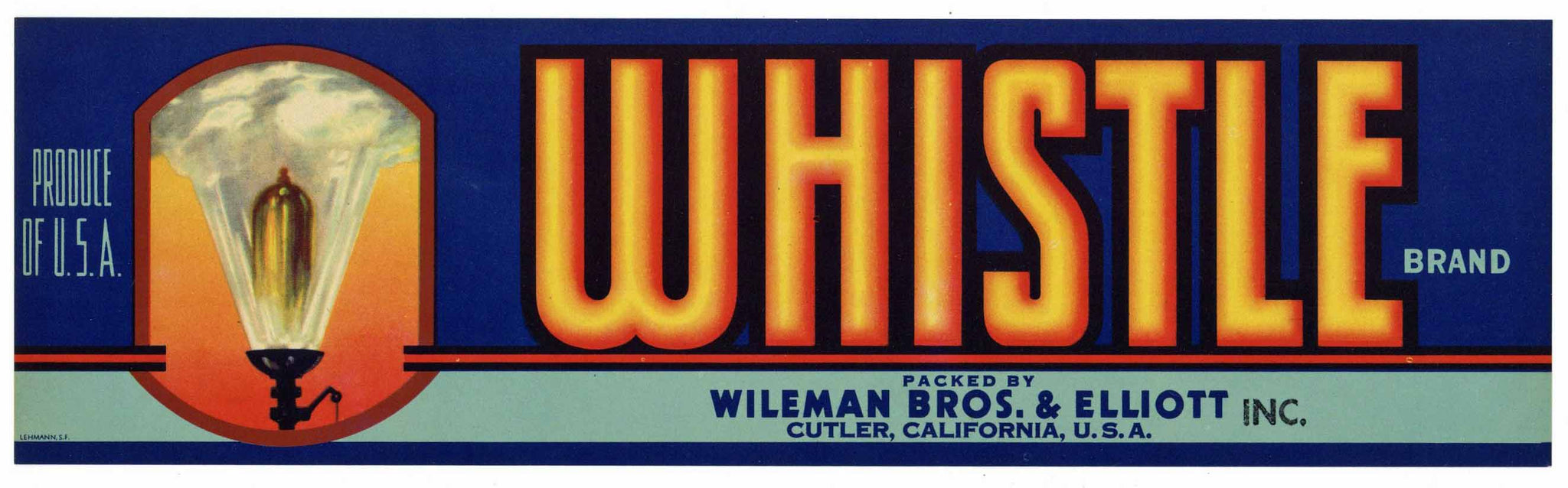 Whistle Brand Vintage Cutler Fruit Crate Label, Railroad