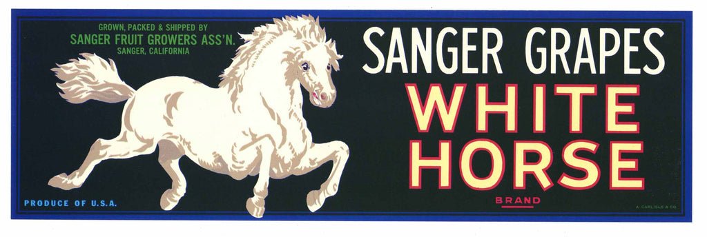 White Horse Brand Vintage Sanger Grape Crate Label
