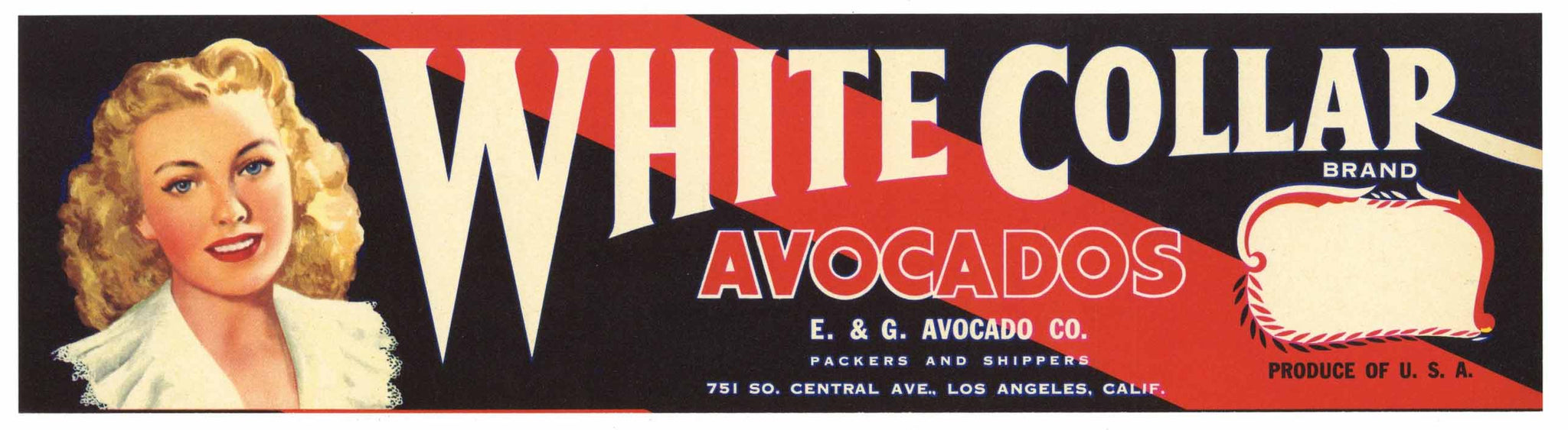 White Collar Brand Vintage Avocado Crate Label