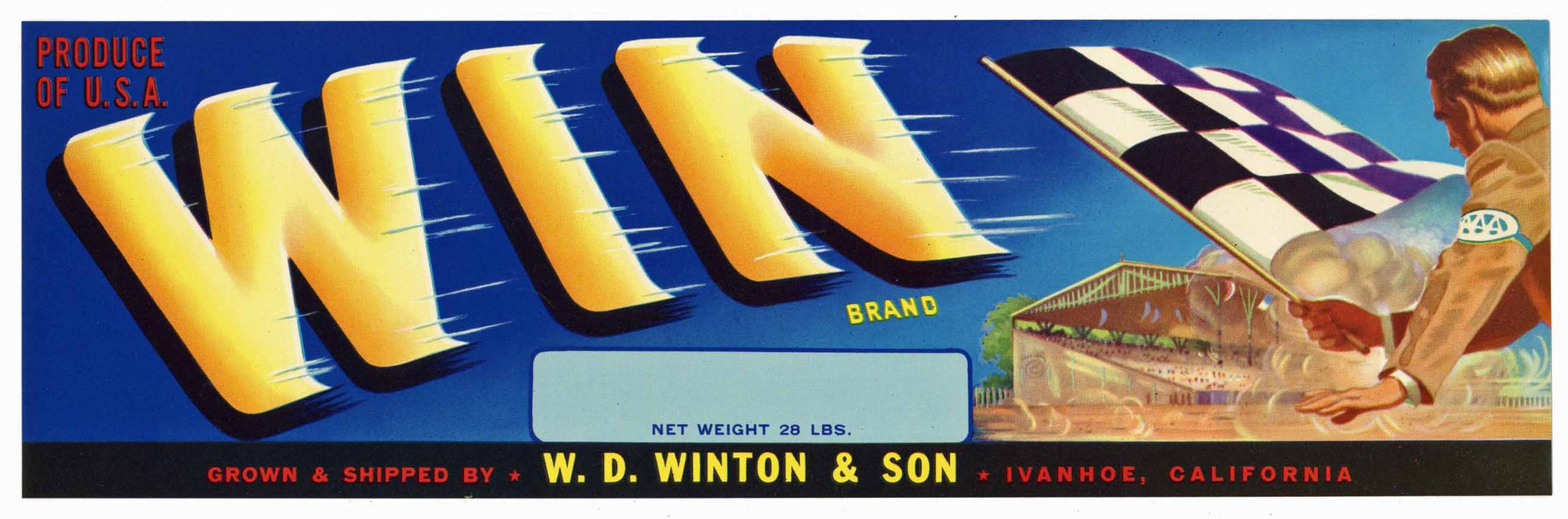 Win Brand Vintage Ivanhoe Fruit Crate Label