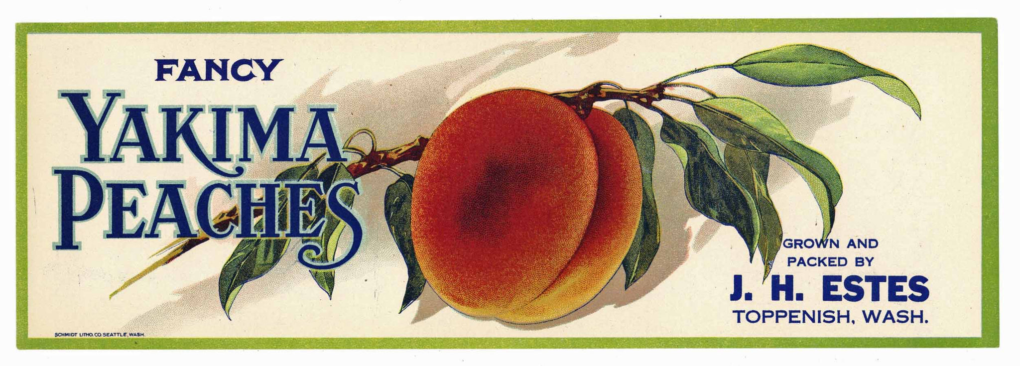Yakima Peaches Brand Vintage Toppenish Washington Peach Crate Label