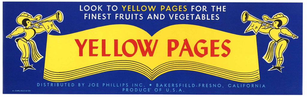 Yellow Pages Brand Vintage Bakersfield Fresno Fruit Crate Label