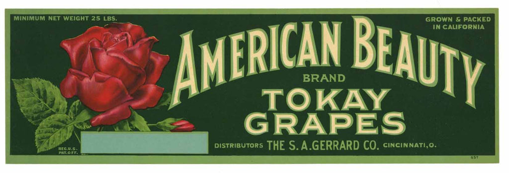 American Beauty Brand Vintage Grape Crate Label