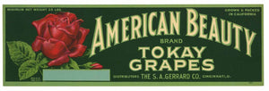 AMERICAN BEAUTY Brand Vintage Grape Crate Label (LL596)
