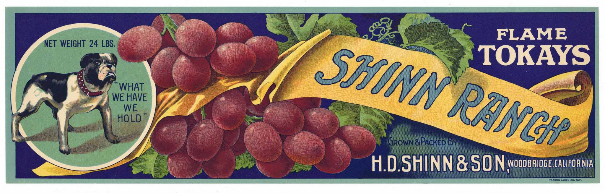 Shinn Ranch Brand Vintage Lodi Tokay Grape Crate Label