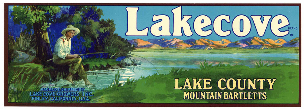 Lakecove Brand Vintage Lake County Pear Crate Label, lug