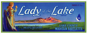 Lady Of The Lake Brand Vintage Kelseyville Lake County Pear Crate Label, lug