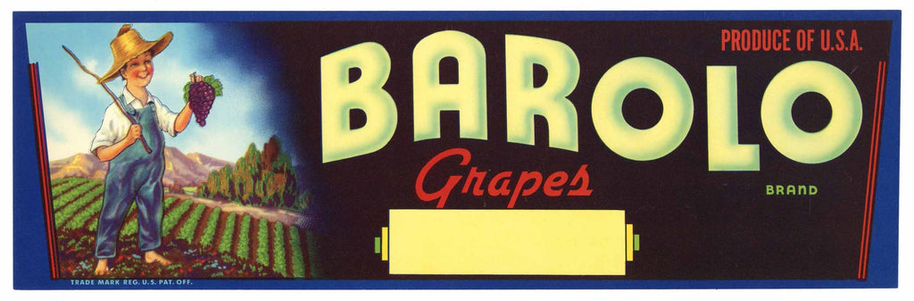 Barolo Brand Vintage Grape Crate Label