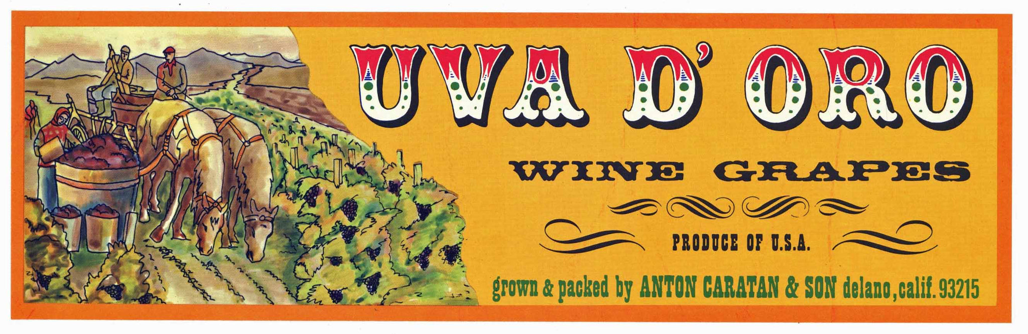 Uva D' Oro Brand Vintage Delano Grape Crate Label