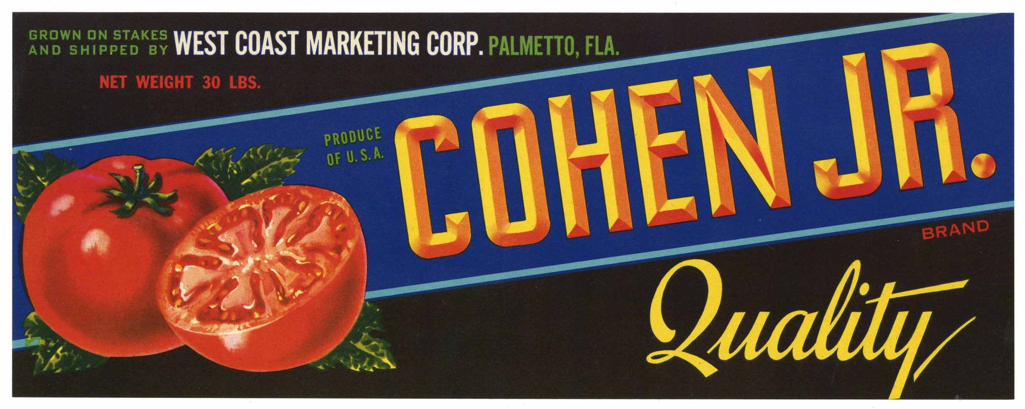 Cohen Jr. Brand Vintage Palmetto Florida Produce Crate Label, Tomato