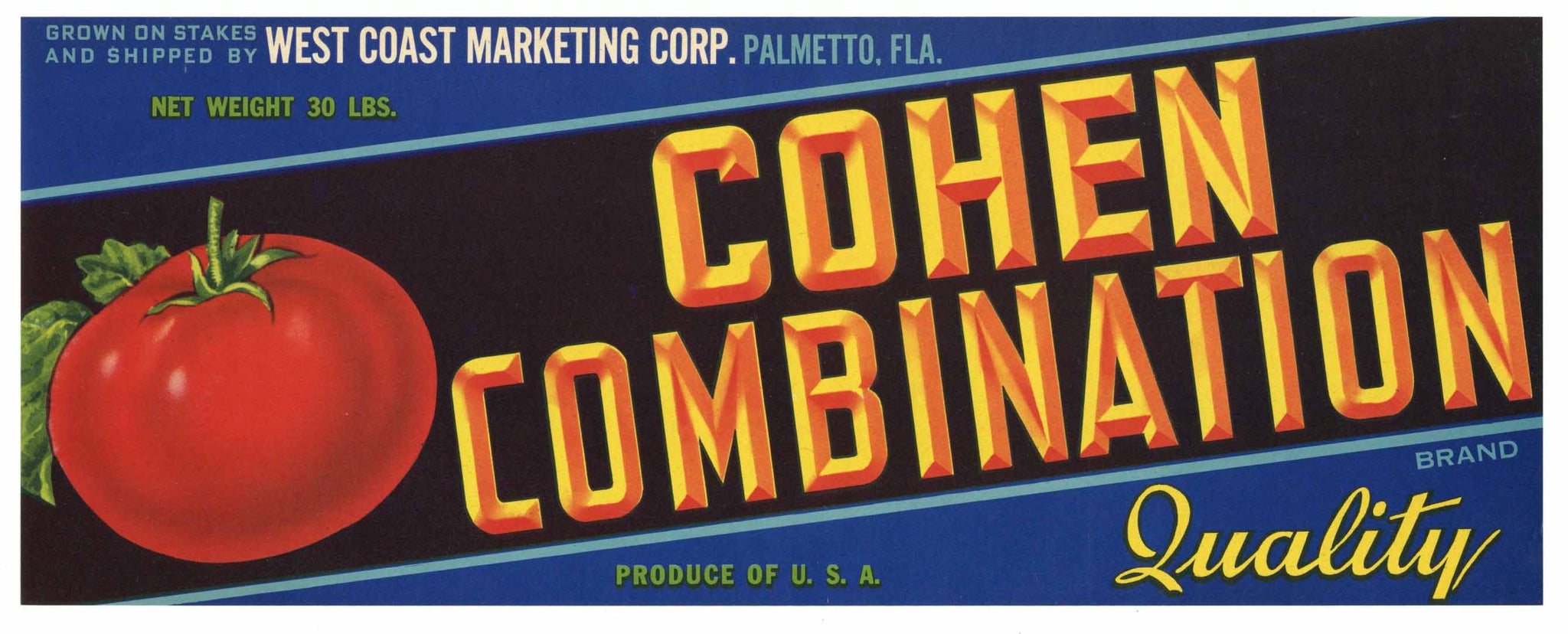 Cohen Combination Brand Vintage Palmetto Florida Produce Crate Label, Tomato