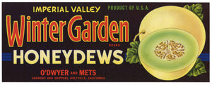 Winter Garden Brand Vintage Honeydew Melon Crate Label