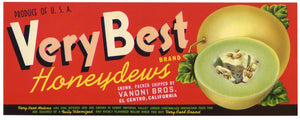 Very Best Brand Vintage El Centro  Honeydew Melon Crate Label