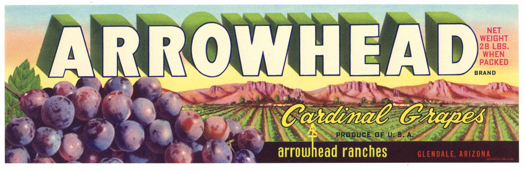 Arrowhead Brand Vintage Glendale Arizona Grape Crate Label