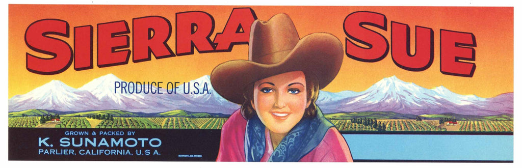Sierra Sue Brand Vintage Fruit Crate Label, cowgirl