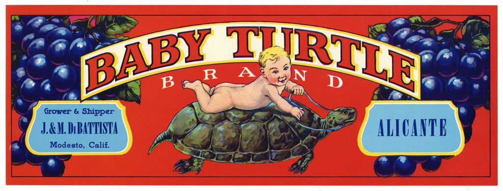 Baby Turtle Brand Vintage Alicante Grape Crate Label