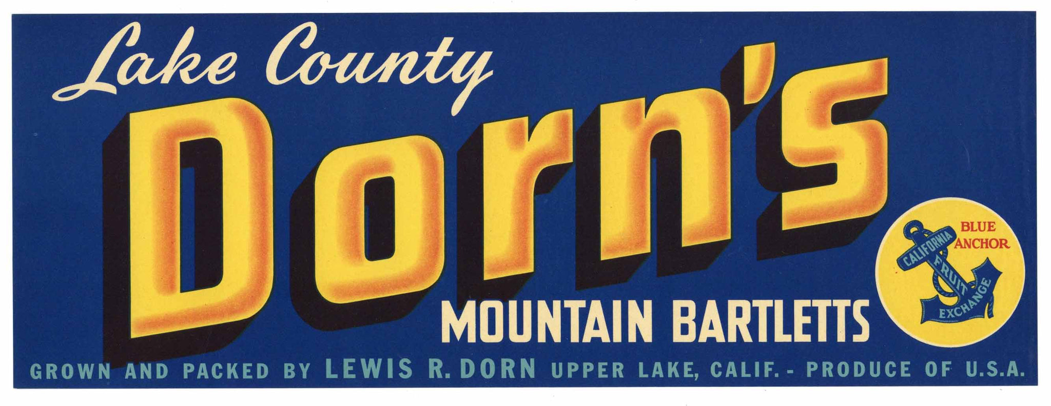 Dorn's Brand Vintage Lake County Pear Crate Label