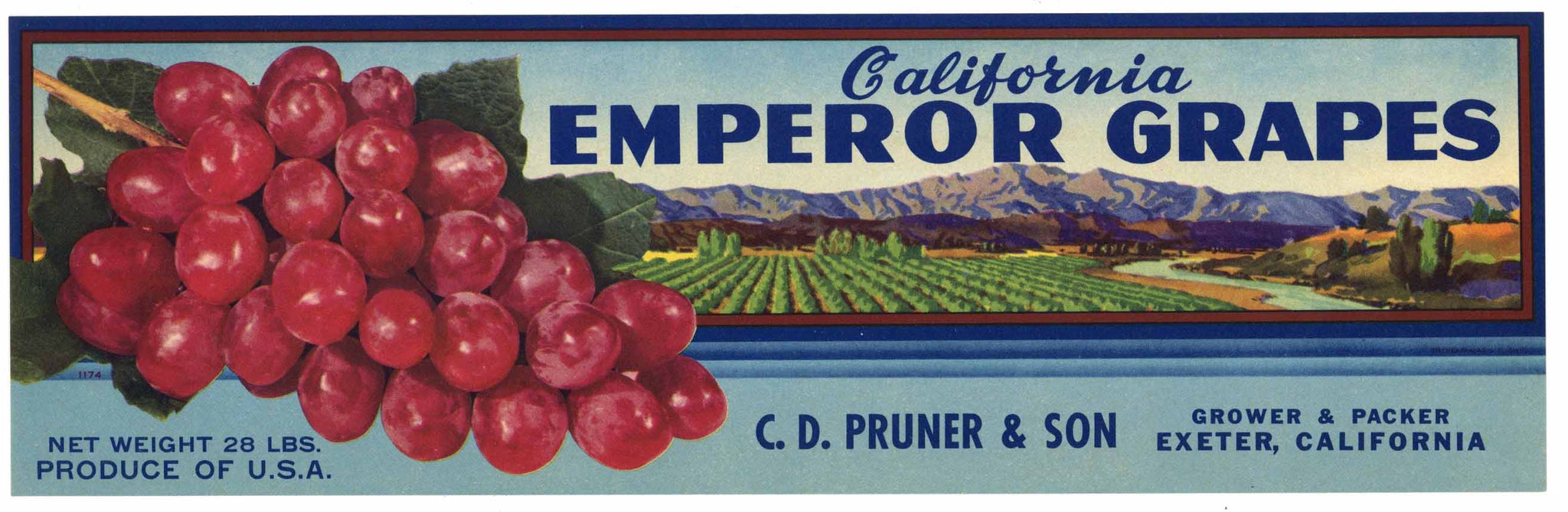 California Emperor Grapes Brand Vintage Grape Crate Label