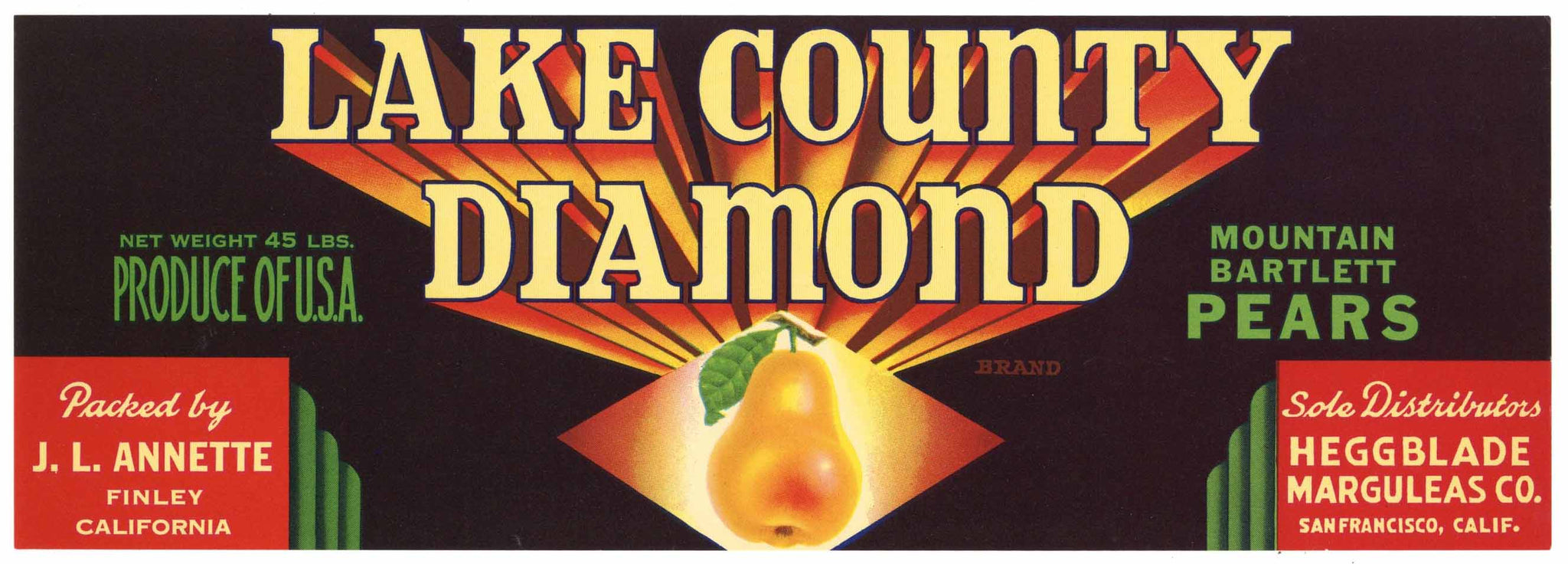 Lake County Diamond Brand Vintage Finley Pear Crate Label, lug