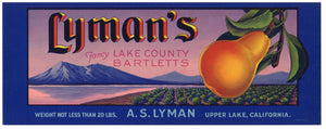 Lyman's Brand Vintage Lake County Pear Crate Label