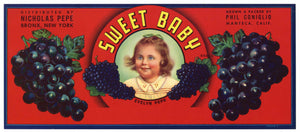 Sweet Baby Brand Vintage Wine Grape Crate Label