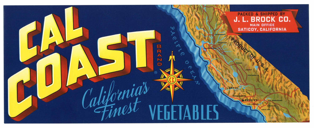 Cal Coast Brand Vintage Saticoy Vegetable Crate Label