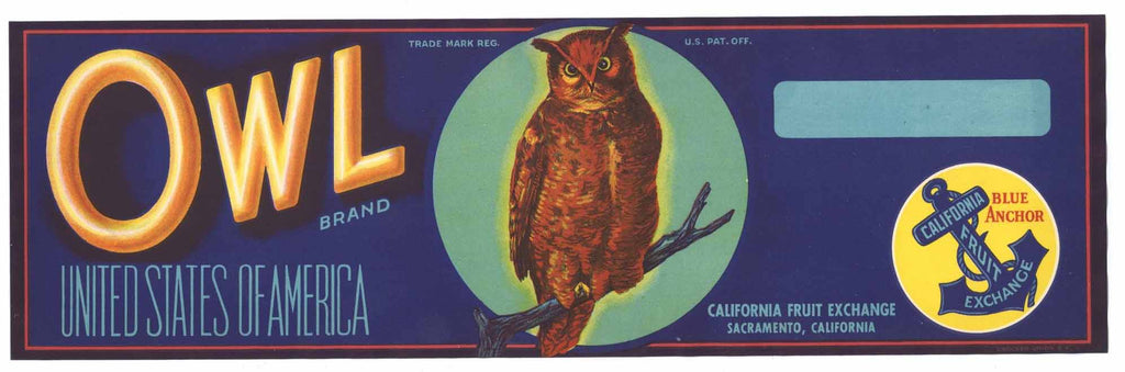 Owl Brand Vintage Fruit Crate Label, o