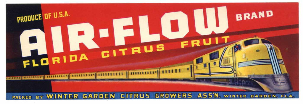 Air-Flow Brand Vintage Winter Garden Florida Citrus Crate Label