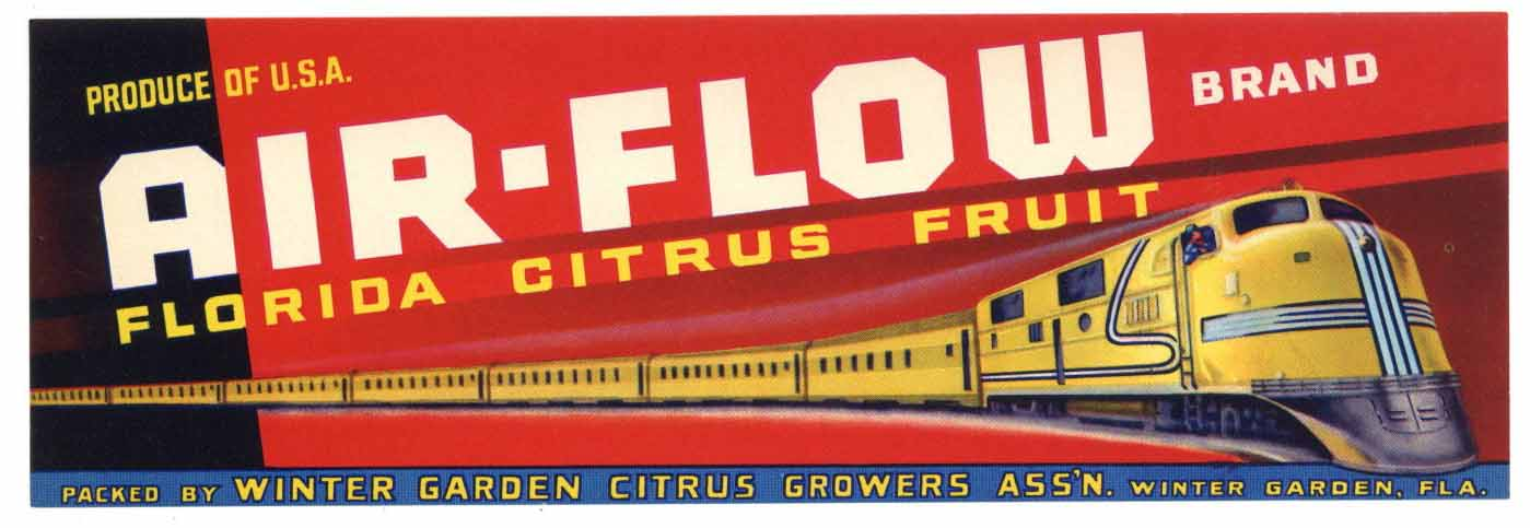 AIR-FLOW Brand Vintage Florida Citrus Crate Label (LS004)