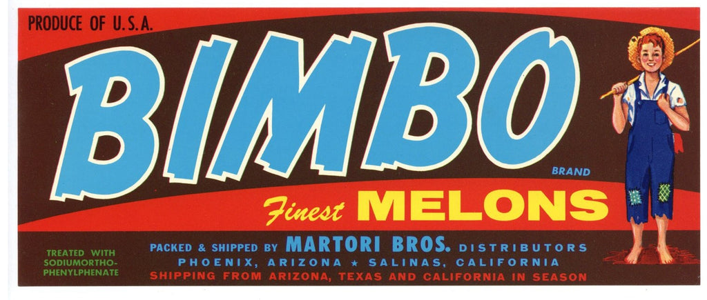 Bimbo Brand Vintage Arizona Melon Crate Label