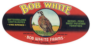 BOB WHITE Brand Vintage Produce Crate Label (LS037)