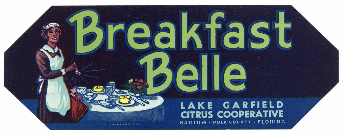 Breakfast Belle Brand Vintage Bartow Florida Citrus Crate Label