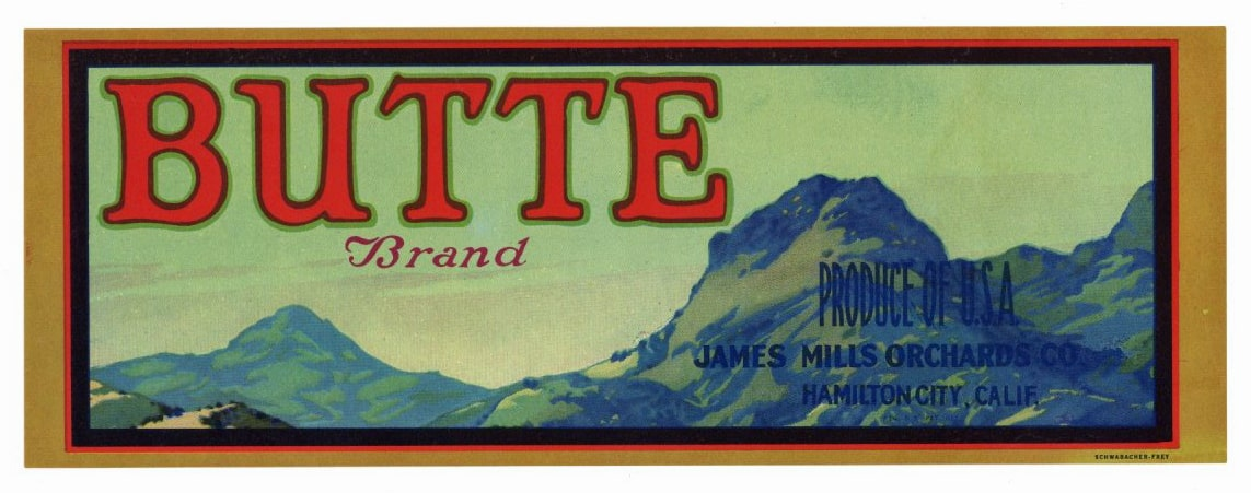 BUTTE Brand Vintage Fruit Crate Label (LS048)