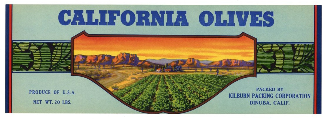 CALIFORNIA OLIVES Brand Vintage Produce Crate Label (LS055)