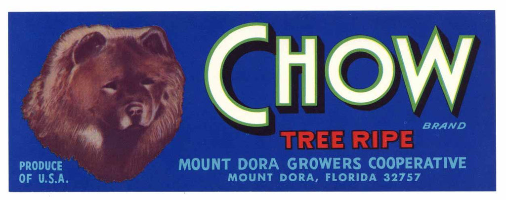 Chow Brand Vintage Mount Dora Florida Citrus Crate Label