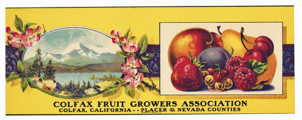 Colfax Fruit Growers Brand Vintage Placer County Crate Label