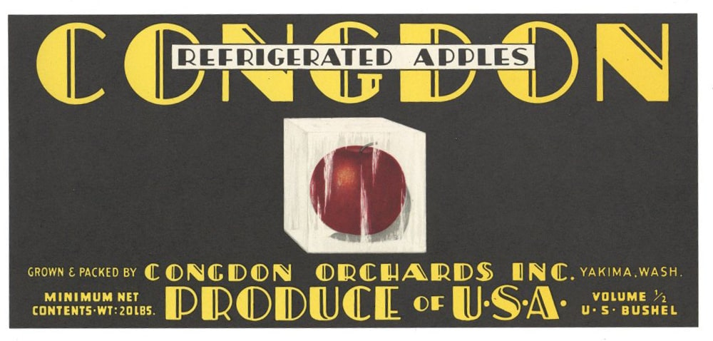 Congdon Brand Vintage Yakima Washington Apple Crate Label, lug