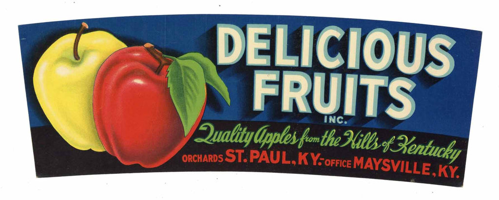 Delicious Fruits Brand Vintage Kentucky Apple Crate Label, lug