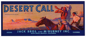 Desert Call Brand Vintage Produce Crate Label