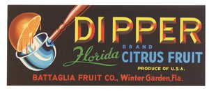 Dipper Brand Vintage Winter Garden Florida Citrus Crate Label